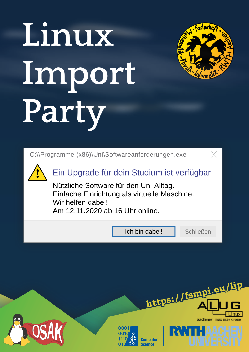 Plakat zur Linux Import Party